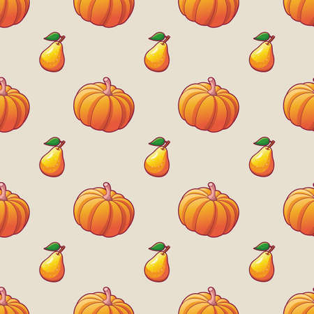 Vegetables and fruits. Seamless pattern for textile print. Harvest. Bright illustrations of ripe pumpkin and pear. Vettoriali