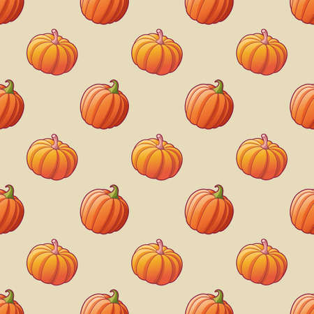Vegetables. Pumpkin seamless pattern for textile print. Harvest. Bright illustrations of ripe pumpkin.