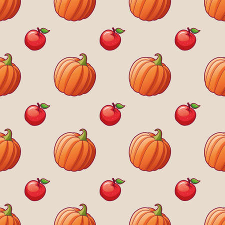 Vegetables and fruits. Apple and pumpkin. Seamless pattern for textile print. illustrations of pumpkin and apple