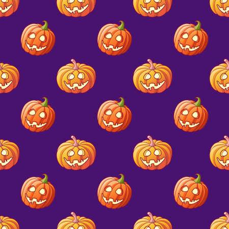 Halloween glowing pumpkins seamless pattern on violet background. Funny cartoon halloween jack lantern pumpkin Vettoriali