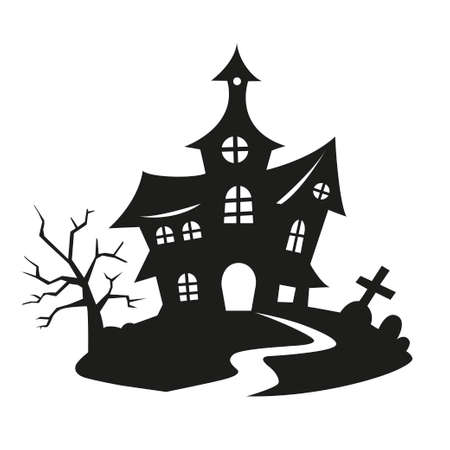 Halloween witch house silhouette with dark tree and graves. Vector illustration of dark castle for halloween decorations isolated on white background