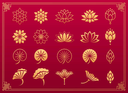 Lotus pattern. Orinet floral plant decorative elements. Chinese and Japanese traditional gold ornament: lotus flower, leaves and blossom isolated on red background with gold frame. Vector set. Vettoriali