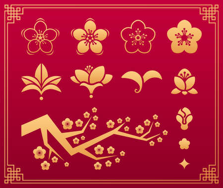 Chinese pattern. Orient asian traditional decorative gold vector ornaments. Floral plant elements: sakura flower, leaves, blossom and branch isolated on red background with frame. Vector set.