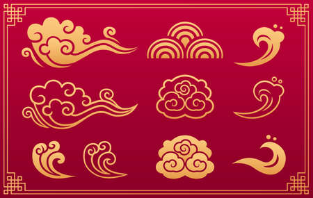 Chinese pattern. Asian orient gold traditional ornament and decorative element: clouds and waves isolated on red background with gold geometric frame. Vector set. Vettoriali