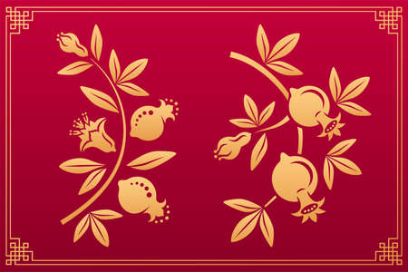 Chinese pattern. Asian orient gold decorative floral plant elements and ornaments: garnet flower, fruits, leaves and blossom isolated on red background with gold frame. Vector set.