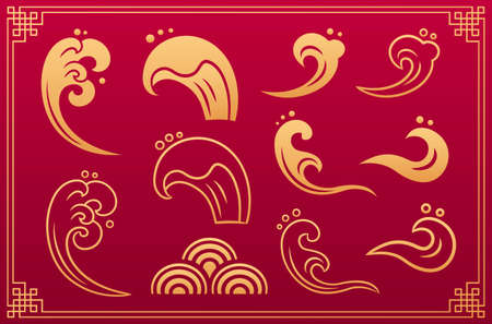 Chinese pattern. Orient asian gold traditional decorative elements and ornaments: sea, ocean water waves, clouds isolated on red background with gold geometric frame. Vector set.