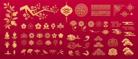 Chinese orient pattern. Asian traditional decorative gold vector ornaments. Floral plant elements: sakura, lotus, peony, chrysanthemum, garnet flower. Geometric and nodal pattern, lantern, cloud.