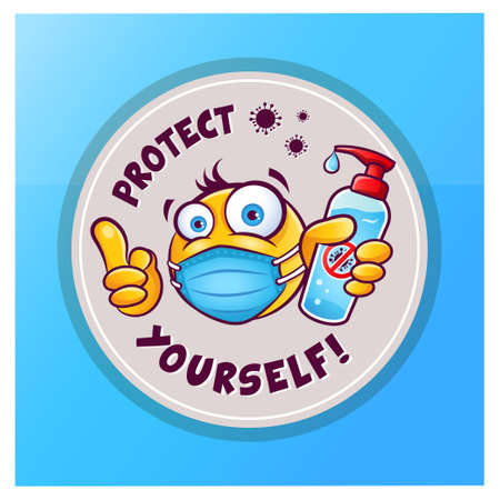 Emoticon emoji with medical mask over mouth showing hand antiseptic or sanitizer. Vector sticker icon with emoji and inscription protect yourself isolated on blue background.
