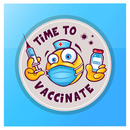 Emoticon with medical mask over mouth, bottle of vaccine and syringe for injection. Vector sticker icon with emoticon and inscription time to vaccinate isolated on blue background.