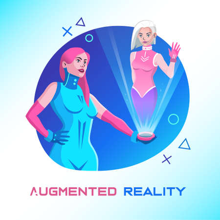 Virtual reality. Women communicate through a hologram. Augmented reality concept. Futuristic vector web banner. Illustration in cyberpunk style.