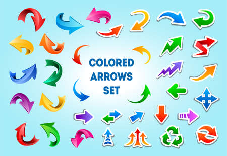 Colorful arrows in different styles. Flat colored icons with white strokes, curved 3d glossy arrows, flat curved arrows. Big vector set of arrows isolated on blue background.