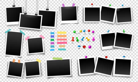 Photo frames fixed with sticky tape, push pins, thumbtacks, binder clips of different colors. Vector set of photo templates. Illustration of empty photo with shadows on transparent background.