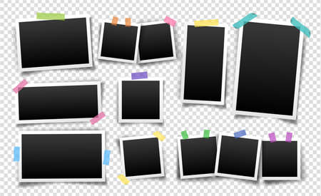 Photo frames fixed with sticky tape of different colors. Vector templates set for editing. Illustration of realistic empty photo with shadows isolated on transparent background. Vettoriali