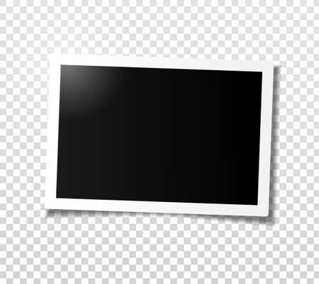 Wide horizontal photo frame with shadow. Template for editing. Vector realistic illustration of empty photo with shadow isolated on transparent grey checkered background. Vettoriali