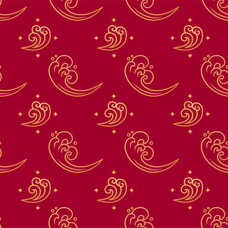 Chinese marine seamless vector pattern. Gold sea waves decoration elements on red background. Oriental, japanese, asian traditional background. Endless print texture. Vettoriali