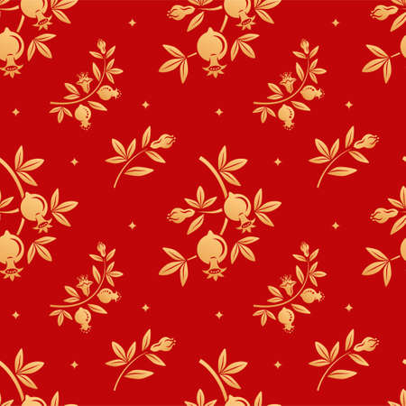 Chinese garnet floral seamless vector pattern. Gold silhouettes of pomegranate fruits, leafs, flowers on red background. Oriental, japanese, asian vector background. Endless print texture.