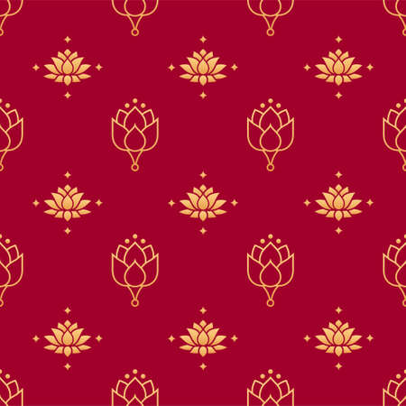 Lotus seamless vector pattern. Chinese floral seamless pattern. Gold decoration elements of lotus flowers on red background. Floral, oriental, japanese, asian vector background. Print texture.