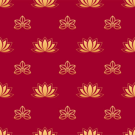 Lotus seamless vector pattern. Chinese floral seamless pattern. Gold silhouettes of lotus leafs and flowers on red background. Floral, oriental, japanese, asian vector background. Print texture.