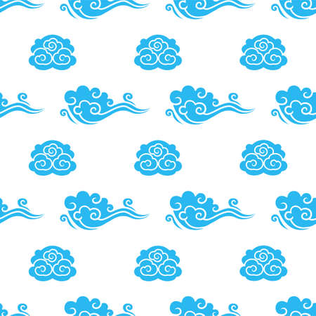 Chinese floral seamless vector pattern. Blue sky clouds decoration elements on white background. Oriental, japanese, asian traditional background. Endless print texture.