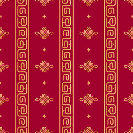 Chinese geometric seamless vector pattern. Chinese nodal seamless pattern. Gold oriental columns with a curving ornament, knots on red background. Japanese, asian background. Print texture.