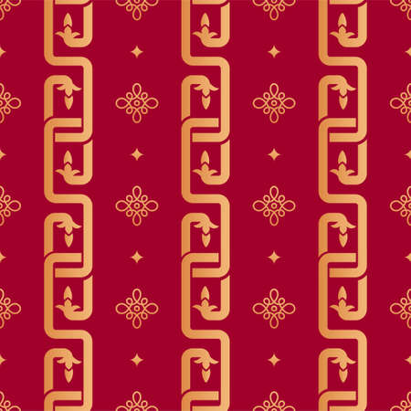 Chinese geometric seamless vector pattern. Chinese nodal seamless pattern. Gold oriental chain ornament, knots and rhombs on red background. Japanese, asian background. Print texture. Vettoriali