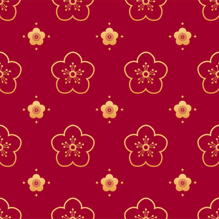Sakura seamless vector pattern. Chinese floral seamless pattern. Gold silhouettes of oriental cherry leafs and flowers on red background. Oriental, japanese, asian vector background. Print texture.