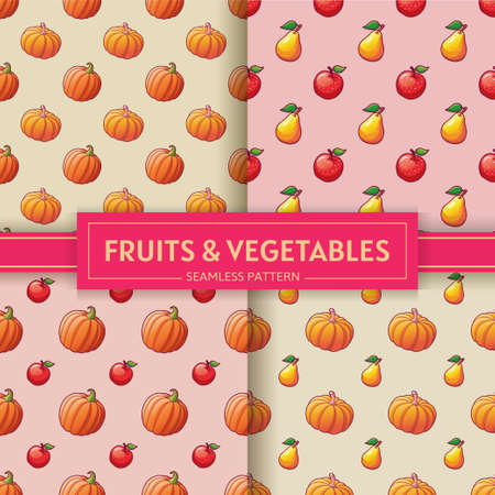 Fruits and vegetables. Seamless patterns with pumpkins, apples and pears illustrations. Vector set for textile, backgrounds and textures