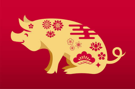 Chinese pig illustration with chinese floral ornament. Gold icon of the pig with decorative asian elements on her back. Background with red gradient. Chinese zodiac symbol for decoration