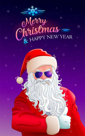 Merry Christmas. Happy New year. Greeting card. Cool santa claus in sunglasses. Neon calligraphy greeting text. Background with snowflakes. Christmas banner for web. Flyer with cool santa. Vettoriali