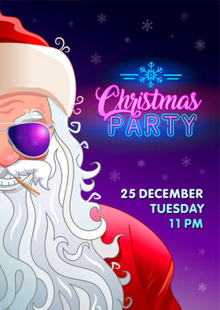 Christmas party invitation poster with smile cool Santa Claus in sunglasses. Neon text and background with snowflakes. Holiday banner. Flyer with cool santa.