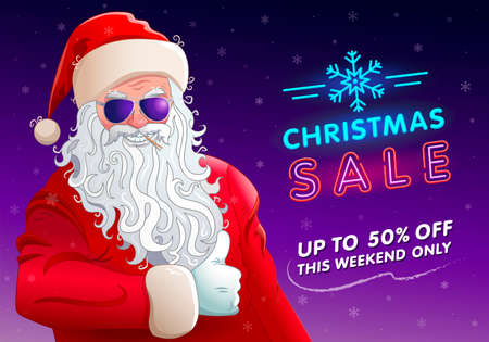 Christmas sale. Banner with cool santa claus in sunglasses. Neon invitation text. Background with snowflakes. Promotional text: up to 50 off, this weekend only. Christmas advertising poster Vettoriali