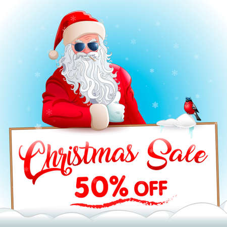 Christmas sale. Promotional banner with cool santa claus in sunglasses, cool bullfinch in sunglasses. Red advertising text on white board. Background with snowflakes.