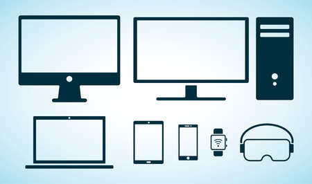 Electorinc devices icons. Black flat icons of digital device isolated on blue background. Smartphone, tablet, smartwatch, personal computer, laptop, virtual reality glasses, computer screen
