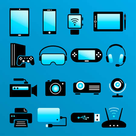 Digital devices icons. Colored flat icons of electorinc devices isolated on blue background. Smartphone, tablet, smartwatch, video game console, smart tv, pc, laptop, notebook, virtual reality glasses. Vector collection