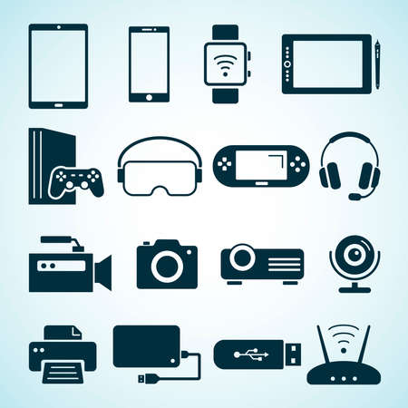 Digital devices flat black cons. Flat icons of electorinc devices isolated on blue background. Smartphone, tablet, smartwatch, video game console, router, camera, webcam, photo, virtual reality glasses. Vector collection