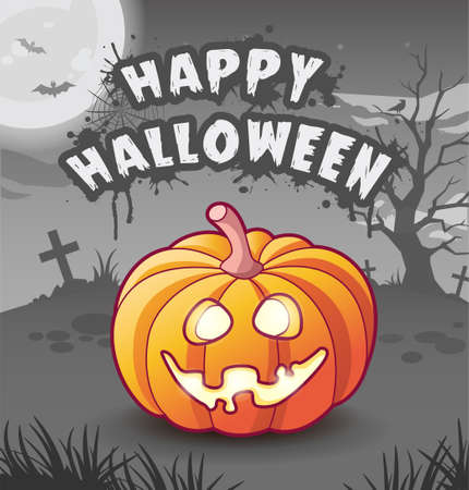 Happy halloween. Jack lantern. cartoon character. Glowing orange pumpkin with sinister toothy smile. Scary night dark background with moon, bats, tree, tombstones and crosses. Greeting card