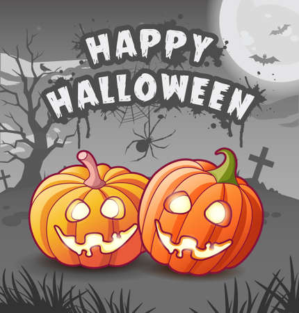 Happy halloween. Jack lanterns. Cartoon characters. Glowing pumpkins with sinister toothy smiles. Scary night dark background with moon, bats, tree, tombstones and crosses. Greeting card. Stylized festive text title Vettoriali