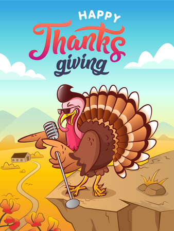 Singing turkey. Happy thanksgiving. Greeting card. Singing cool cartoon turkey with sunglasses and microphone. Background with autumn landscape. Vector illustration. Comic poster.
