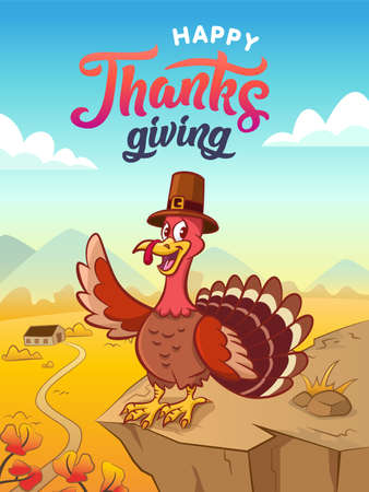 Happy thanksgiving. Greeting card. Happy cartoon turkey in pilgrim hat. Background with autumn landscape. Vector illustration. Comic poster. Vettoriali