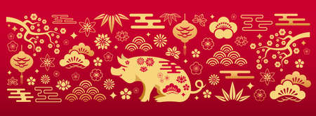Chinese gold floral patterns and ornaments with pig symbol on red background. Vector illustration of oriental asian decorative elements. Traditional japanese banner Vettoriali