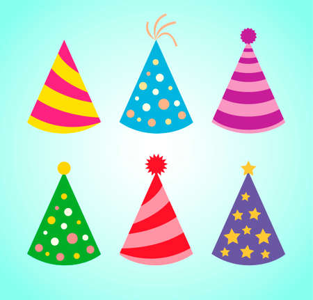 Birthday hats. Birthday caps. Colored holiday hats isolated on blue bacground. Vector set for events decoration.