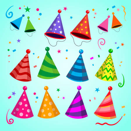 Party hat and birthday hat illustrations. Birthday cap illustrations. Colored holiday hats isolated on blue festive bacground. Vector collection