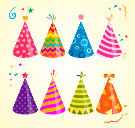 Birthday hat illustrations. Birthday cap illustrations. Colored party hats isolated on festive bacground. Vector collection for events decoration. Vettoriali