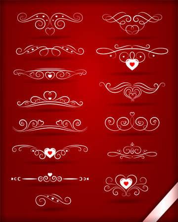 Vintage decorative elements with hearts. White patterns and ornaments, wavy lines for valentine day. Red background. Vettoriali