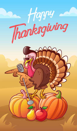 Happy thanksgiving. Greeting card. Cool singing cartoon turkey in sunglasses with microphone standing on the pumpkins. Vegetables and fruits. Background with autumn landscape. Comic poster Vettoriali