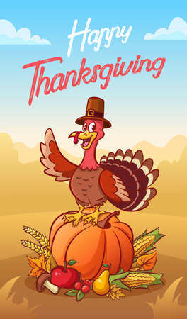 Happy thanksgiving. Greeting card. Happy turkey in pilgrim hat standing on the pumpkin. Vegetables and fruits. Vector illustration. Comic poster. Vettoriali