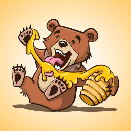 Teddy bear. Little bear eats honey from hive. Cartoon illustration, print, sticker, poster