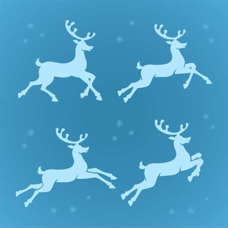 Running reindeers silhouettes with snowflakes isolated on blue background. Christmas decorations Vettoriali