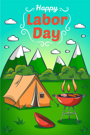 Happy Labor day. Greeting card, banner, poster. Barbecue grill and camping tent across the mountains Vettoriali
