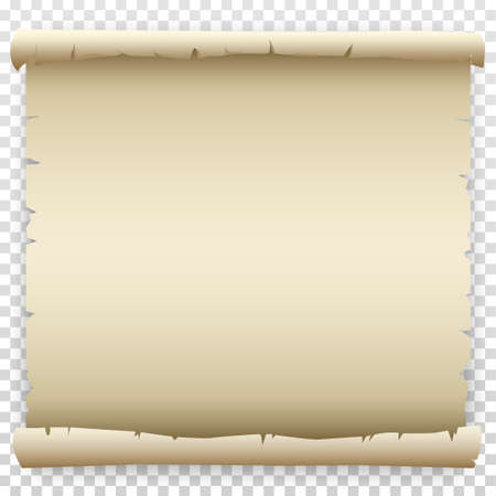 Empty old paper scroll with torn, crumpled edges. Cartoon drawing template for letter or text